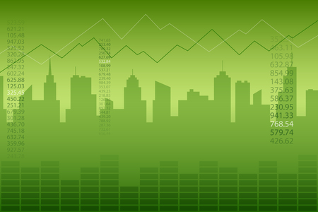 Abstract background city graph green vector
