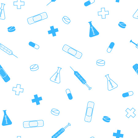 tests: Abstract background health medicine tablet patch syringe seamless pattern blue vector