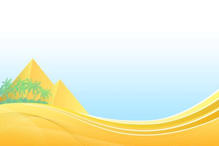 pyramid egypt: Abstract background pyramid Egypt travel palm yellow vector