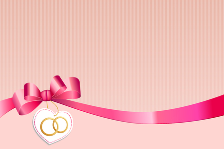 gold rings: Abstract background beige strips white pink bow heart with wedding gold rings vector