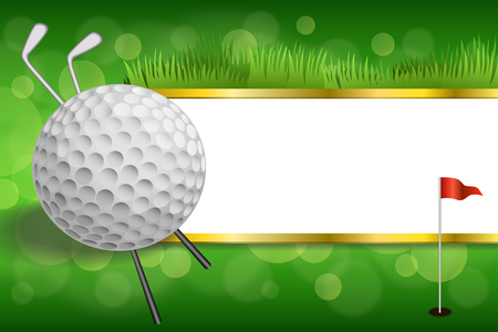 Background abstract green golf club sport white ball red flag gold strips frame illustration vector
