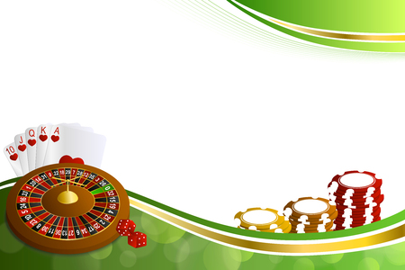Background abstract green gold casino roulette cards chips craps illustration vector