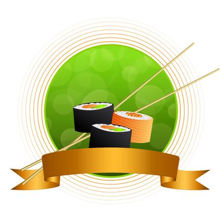 fish food: Abstract background sushi orange yellow green circle frame ribbon vector Illustration