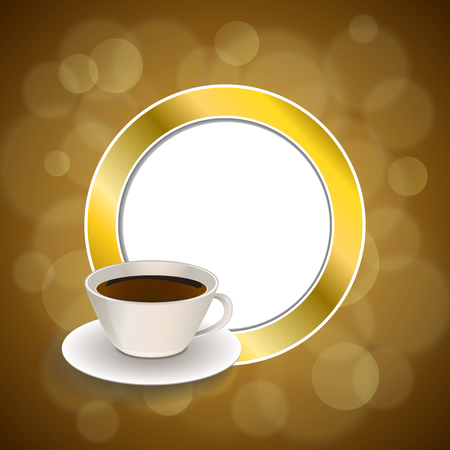 gold circle: Abstract background coffee cup brown gold circle frame illustration vector Illustration