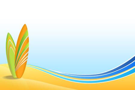Abstract background sea coast holidays design orange green surfboards beach blue yellow vector Stock Illustratie