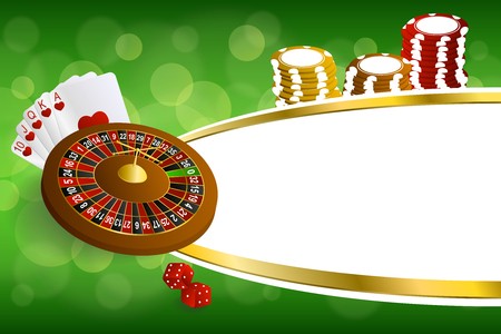 craps: Background abstract green gold casino roulette cards chips craps illustration vector