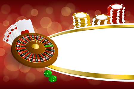 rojo y dorado: Background abstract red gold casino roulette cards chips craps illustration vector
