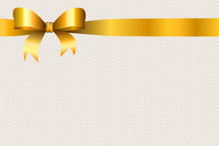 Background beige circles pattern with gold bow vector