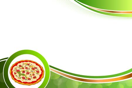 cocina saludable: Resumen de fondo de alimentos de pizza naranja amarillo verde Vectores