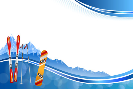 Background abstract blue ski snowboard red orange winter sport frame illustration vector