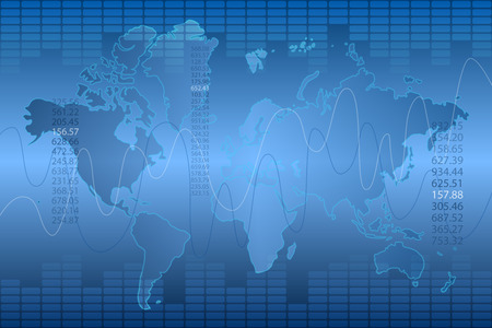 Blue graph and world map abstract background Illustration