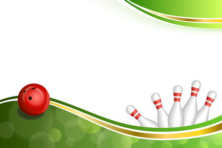 Background abstract green gold tape bowling red ball illustration vector