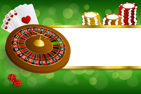 background image: Background abstract green gold casino roulette cards chips craps illustration vector