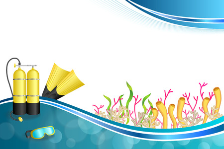 o2: Background abstract blue diving sport yellow aqualung flippers mask illustration vector