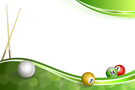 pool cue: Background abstract green billiard pool cue ball illustration vector
