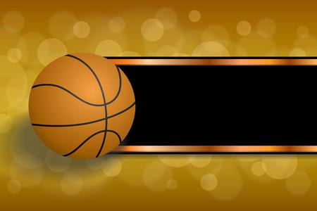 背景黒の抽象のオレンジ色のスポーツ バスケット ボール ボール ストリップ フレーム イラスト