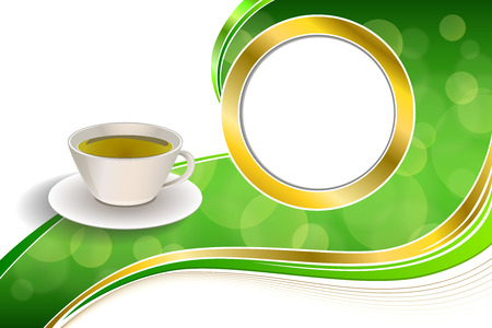 Background abstract drink green tea cup gold circle frame illustration vector Stock Illustratie