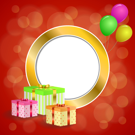 gold circle: Abstract background birthday party gift box green red yellow balloons gold circle frame illustration vector