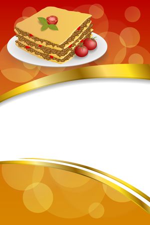 lasagna: Background abstract lasagna food meat tomato yellow green red frame vertical gold ribbon illustration vector