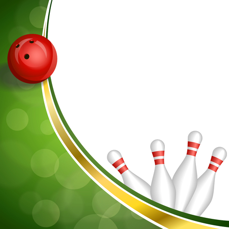 bowling strike: Background abstract green gold tape bowling red ball illustration vector