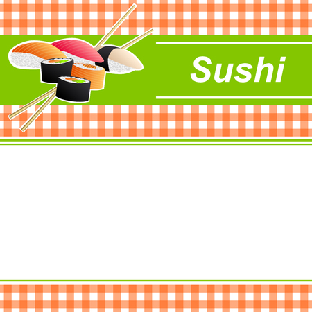 japanese cooking: Background abstract food sushi orange yellow green frame illustration vector Illustration