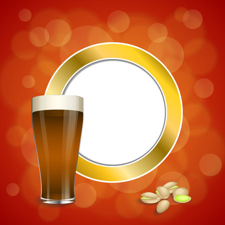 dark beer: Background abstract red gold drink glass dark beer pistachios circle frame illustration vector