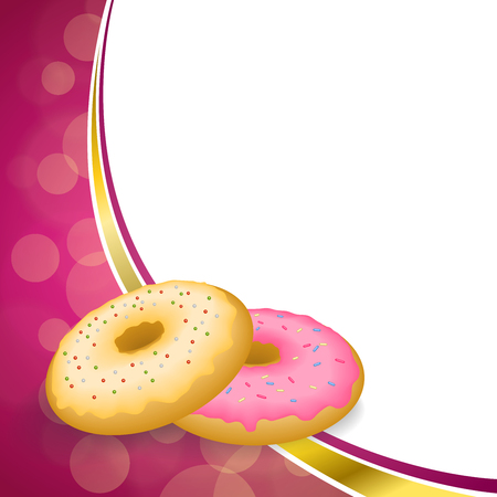 cartoon ice cream: Abstract background pink yellow baked donut glazed ring frame illustration vector