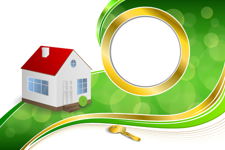 gold house: Background abstract green gold house key circle frame ribbon illustration vector