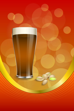 dark beer: Background abstract red gold drink glass dark beer pistachios vertical frame illustration vector Illustration
