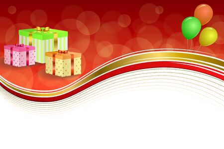 jaune rouge: Background abstract birthday party gift box green red yellow balloons gold ribbon frame illustration