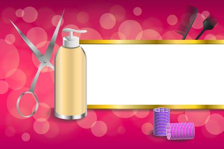 curler: Background abstract pink hairdressing barber tools red curler scissors brush stripes gold frame illustration vector
