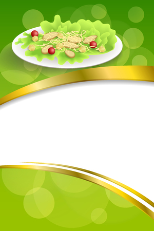 crackers: Background abstract food chicken Caesar salad tomato crackers green red orange frame vertical gold ribbon illustration Illustration