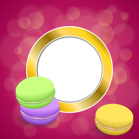 macaroon: Background abstract pink macaroon yellow violet purple green gold circle frame illustration Illustration