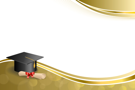 gold swirls: Background abstract beige education graduation cap diploma red bow gold frame illustration Illustration
