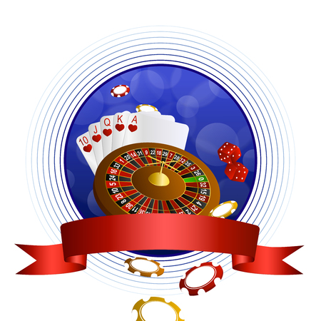 craps: Background abstract blue casino roulette cards chips craps red ribbon circle frame