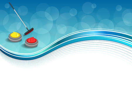curling stone: Background abstract curling sport blue ice red yellow stone broom frame illustration