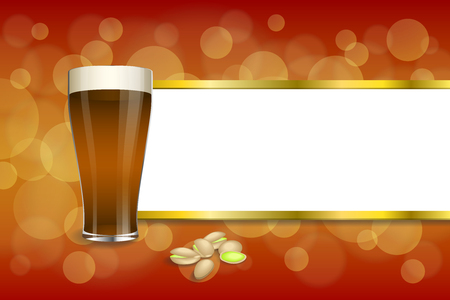 dark beer: Background abstract red gold drink glass dark beer pistachios stripes frame illustration
