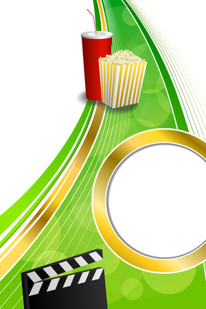 gold circle: Background abstract green red drink popcorn movie clapper board gold circle vertical frame illustration