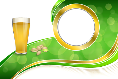 pistachios: Background abstract green gold drink glass beer pistachios circle frame illustration