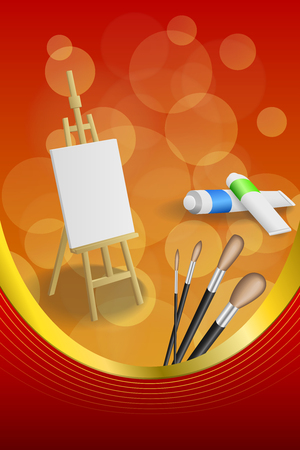 jaune rouge: Background abstract easel picture paint brush red yellow frame vertical gold ribbon illustration vector Illustration