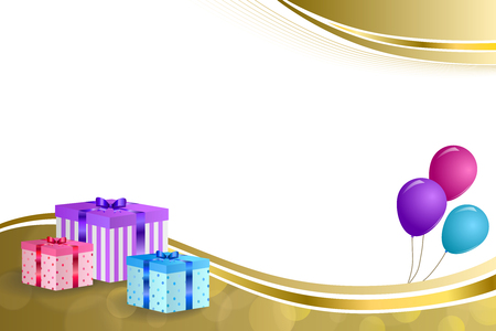 empty box: Background abstract beige birthday party gift box pink violet blue balloons gold ribbon frame illustration Illustration