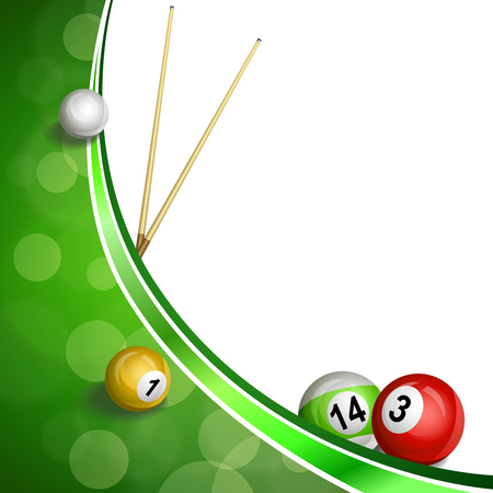 pool cue: Background abstract green billiard pool cue ball illustration