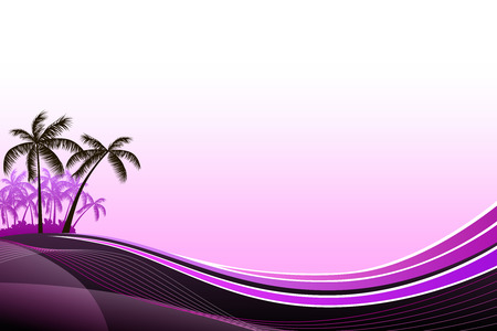 tropical beach panoramic: Abstract background sea coast palms pink evening sunset illustration vector Illustration