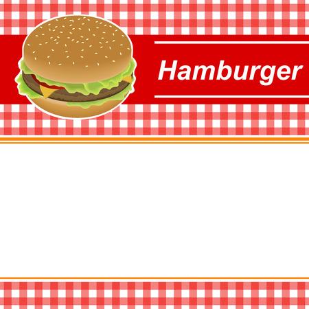 negocios comida: Fondo abstracto de la hamburguesa roja ilustración marco amarillo Vectores