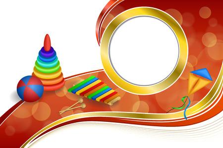 gold circle: Background abstract toys pyramid ball kite blue green red yellow gold circle ribbon frame illustration