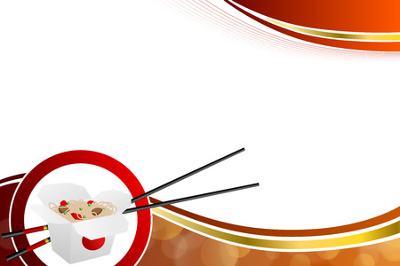 jaune rouge: Abstract background Chinese food white box red yellow gold circle frame illustration
