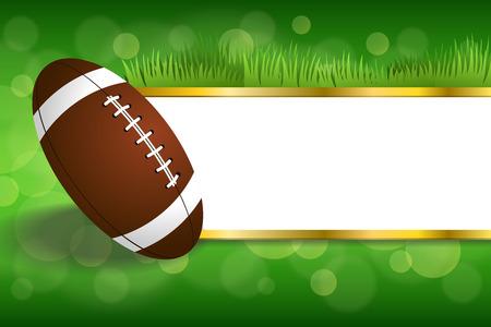 bannière football: Fond vert résumé américain balle de football illustration Illustration