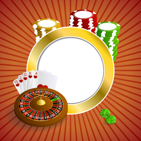 rojo y dorado: Background abstract red gold casino roulette cards chips craps frame circle illustration