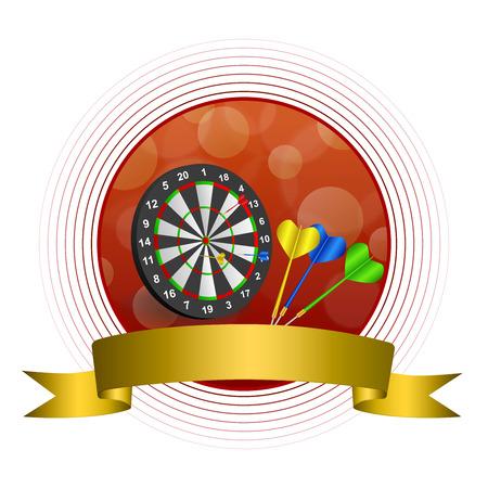 Background abstract red darts board gold ribbon circle frame illustration Illustration