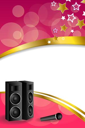 karaoke: Background abstract karaoke microphone loudspeaker star pink yellow vertical gold ribbon frame illustration Illustration